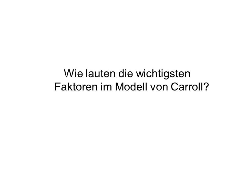 Wie lauten die wichtigsten Faktoren im Modell von Carroll?