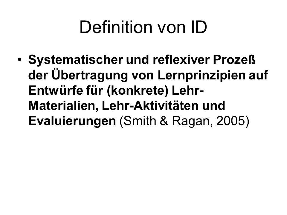 Definition von ID Systematischer und reflexiver Prozeß der Übertragung von Lernprinzipien auf Entwürfe für (konkrete) Lehr- Materialien, Lehr-Aktivitä