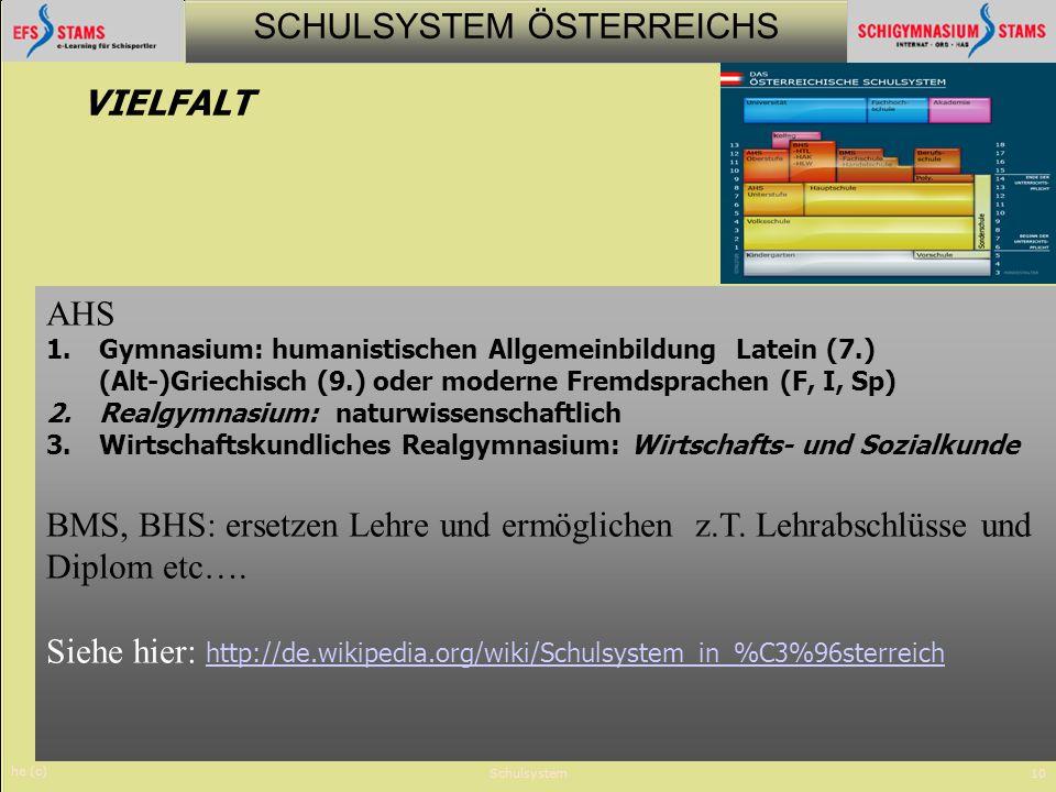 SCHULSYSTEM ÖSTERREICHS he (c) Schulsystem10 AHS 1.Gymnasium: humanistischen Allgemeinbildung Latein (7.) (Alt-)Griechisch (9.) oder moderne Fremdspra