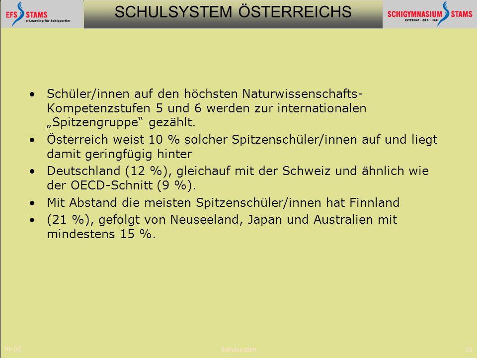 SCHULSYSTEM ÖSTERREICHS he (c) Schulsystem15 Schüler/innen auf den höchsten Naturwissenschafts- Kompetenzstufen 5 und 6 werden zur internationalen Spi