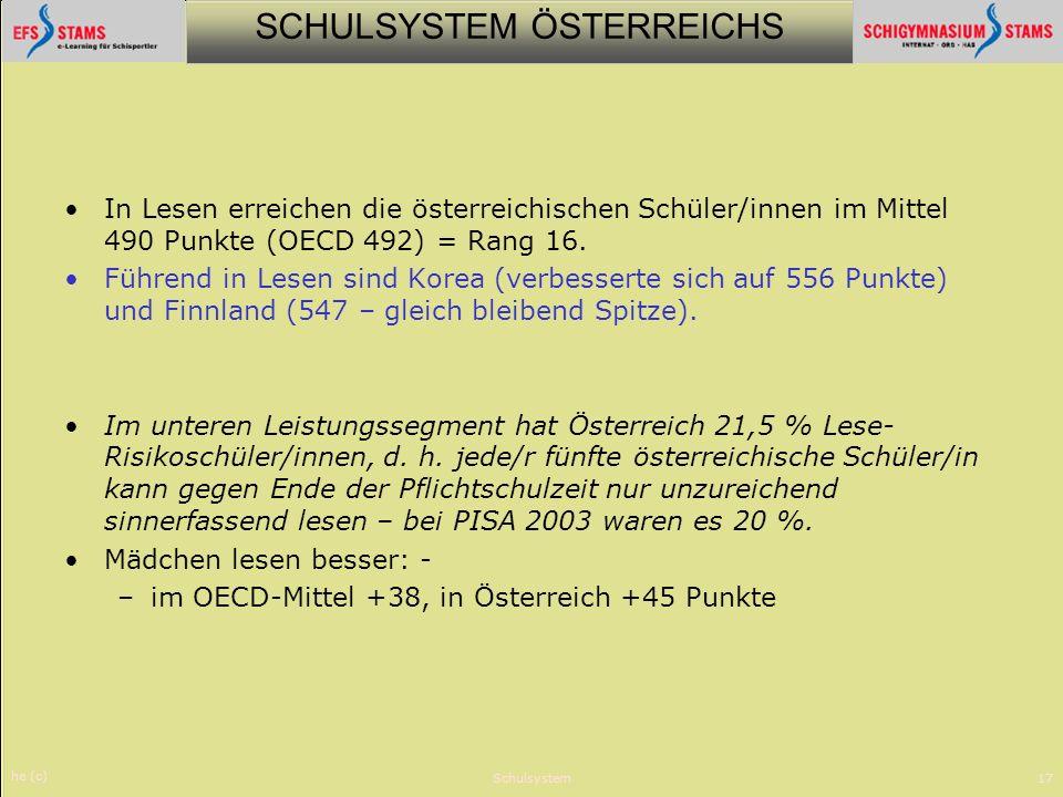 SCHULSYSTEM ÖSTERREICHS he (c) Schulsystem17 In Lesen erreichen die österreichischen Schüler/innen im Mittel 490 Punkte (OECD 492) = Rang 16. Führend