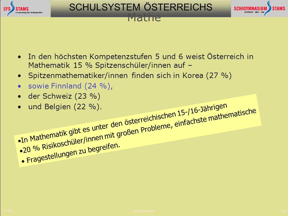 SCHULSYSTEM ÖSTERREICHS he (c) Schulsystem18 Mathe In den höchsten Kompetenzstufen 5 und 6 weist Österreich in Mathematik 15 % Spitzenschüler/innen au
