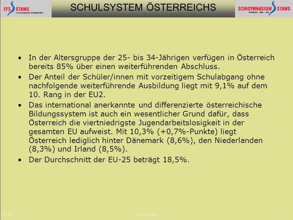 SCHULSYSTEM ÖSTERREICHS he (c) Schulsystem27 In der Altersgruppe der 25- bis 34-Jährigen verfügen in Österreich bereits 85% über einen weiterführenden