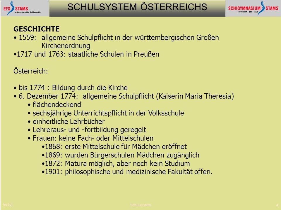 SCHULSYSTEM ÖSTERREICHS he (c) Schulsystem4 GESCHICHTE 1559: allgemeine Schulpflicht in der württembergischen Großen Kirchenordnung 1717 und 1763: sta
