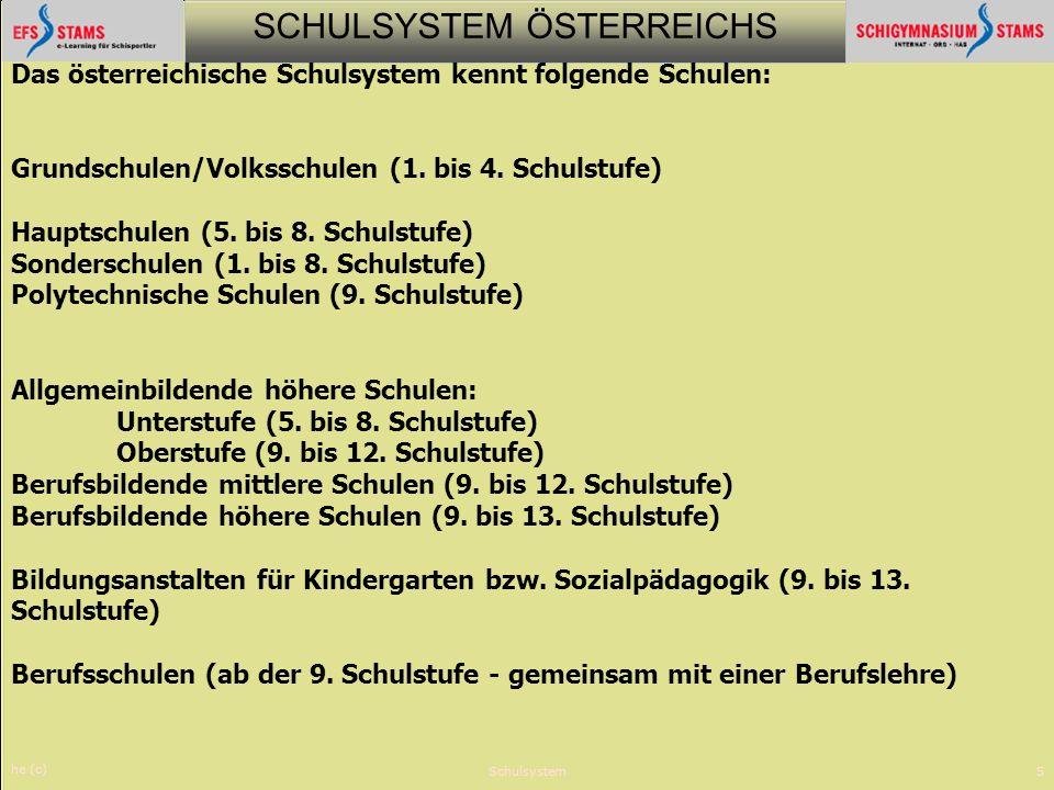 SCHULSYSTEM ÖSTERREICHS he (c) Schulsystem5 Das österreichische Schulsystem kennt folgende Schulen: Grundschulen/Volksschulen (1. bis 4. Schulstufe) H
