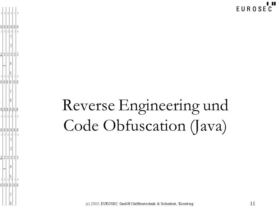 (c) 2005, EUROSEC GmbH Chiffriertechnik & Sicherheit, Kronberg 11 Reverse Engineering und Code Obfuscation (Java)