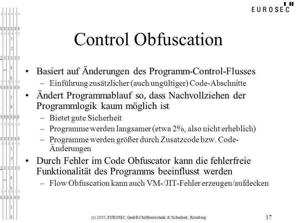 (c) 2005, EUROSEC GmbH Chiffriertechnik & Sicherheit, Kronberg 17 Control Obfuscation Basiert auf Änderungen des Programm-Control-Flusses –Einführung
