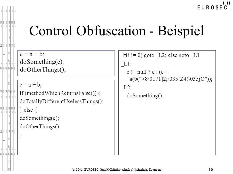 (c) 2005, EUROSEC GmbH Chiffriertechnik & Sicherheit, Kronberg 18 Control Obfuscation - Beispiel c = a + b; doSomething(c); doOtherThings(); if(i != 0