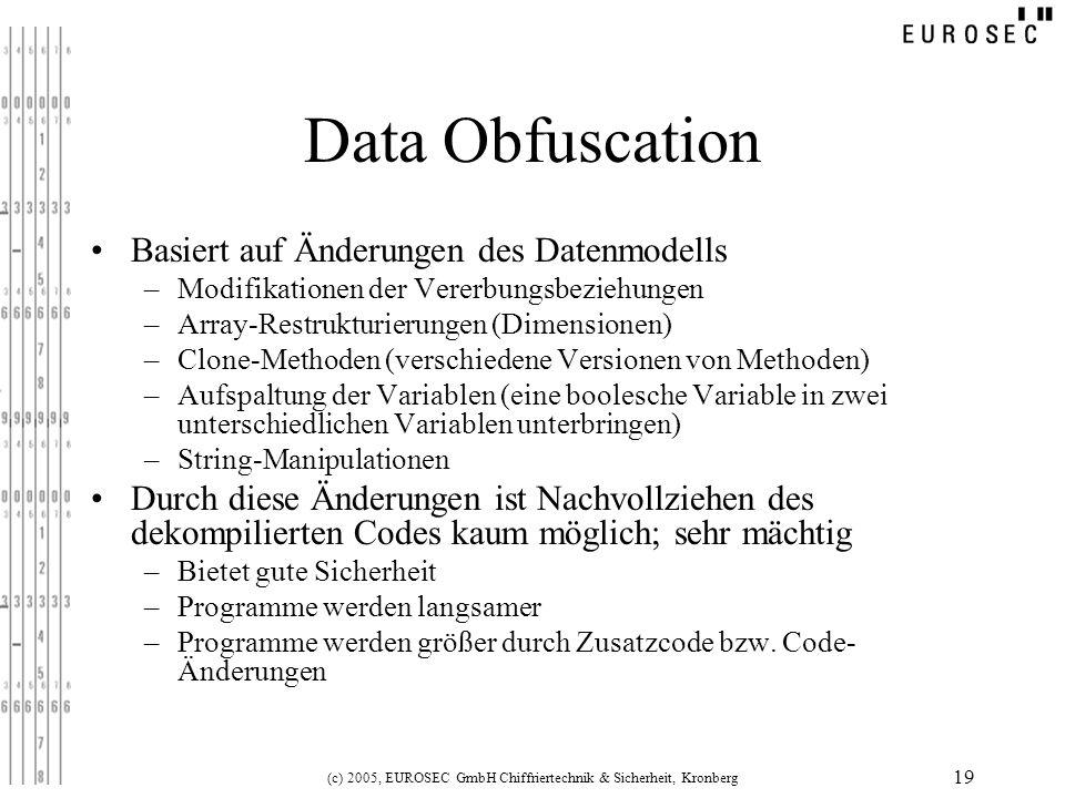 (c) 2005, EUROSEC GmbH Chiffriertechnik & Sicherheit, Kronberg 19 Data Obfuscation Basiert auf Änderungen des Datenmodells –Modifikationen der Vererbu