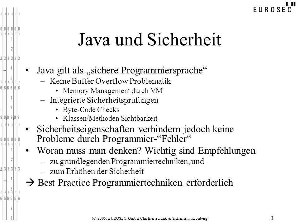 (c) 2005, EUROSEC GmbH Chiffriertechnik & Sicherheit, Kronberg 14 Reverse-Engeneering: Angriffsziele Problem: Java-Byte-Code muss ausgeliefert werden Dekompilieren liefert Informationen über –Kontrollfluss –Einprogrammierte Werte (Schlüssel, Initial-Werte,…) –Verarbeitete Eingaben (Versteckte Funktionen, Optionen) –Vorhandener Testcode (z.B.