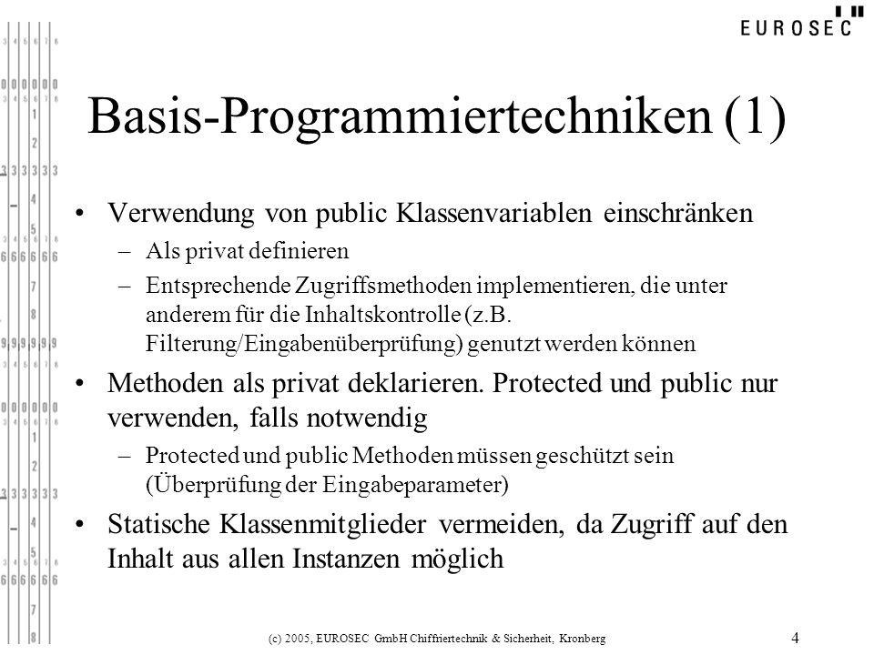 (c) 2005, EUROSEC GmbH Chiffriertechnik & Sicherheit, Kronberg 15 Layout Obfuscation Basiert auf … –Umbenennung von Bezeichnern (vor allem Variablen- und Methodennamen) –Löschen von Debug-Informationen (Zeilen-Nummern, die vom Compiler eingefügt werden) Am weitesten verbreitete Technik Erschwert das Nachvollziehen, versteckt aber nicht die Programmlogik –Sicherheitsgewinn nicht erheblich