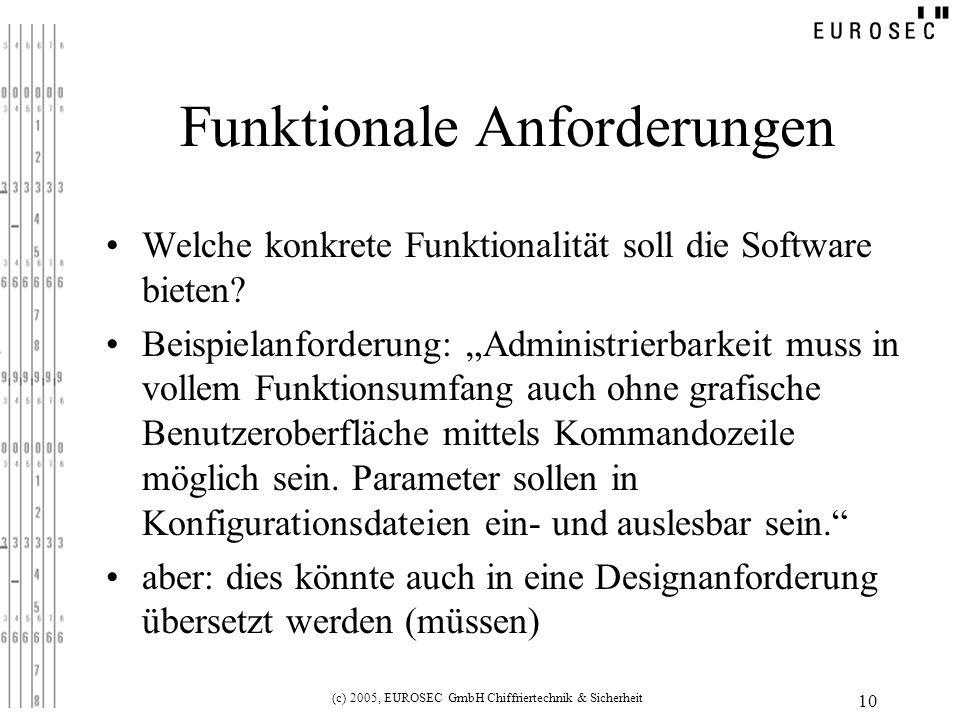 (c) 2005, EUROSEC GmbH Chiffriertechnik & Sicherheit 10 Funktionale Anforderungen Welche konkrete Funktionalität soll die Software bieten.