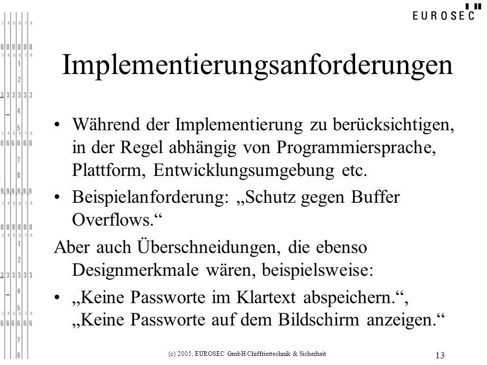(c) 2005, EUROSEC GmbH Chiffriertechnik & Sicherheit 13 Implementierungsanforderungen Während der Implementierung zu berücksichtigen, in der Regel abhängig von Programmiersprache, Plattform, Entwicklungsumgebung etc.