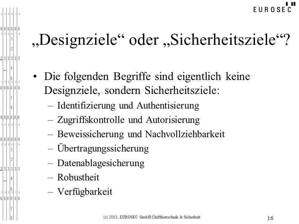 (c) 2005, EUROSEC GmbH Chiffriertechnik & Sicherheit 16 Designziele oder Sicherheitsziele.