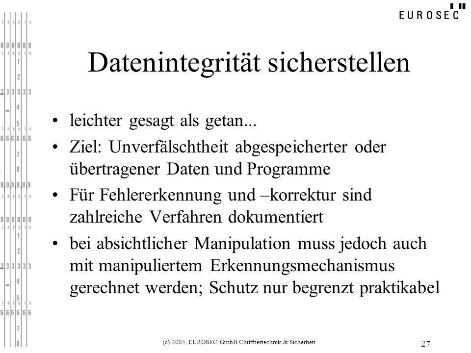 (c) 2005, EUROSEC GmbH Chiffriertechnik & Sicherheit 27 Datenintegrität sicherstellen leichter gesagt als getan...