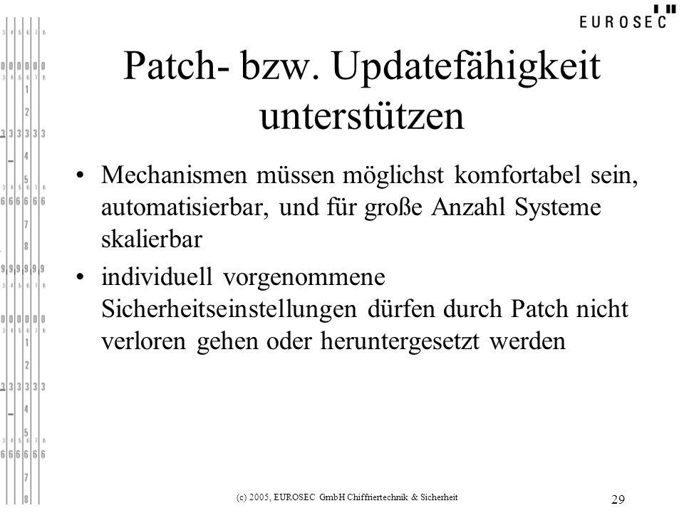 (c) 2005, EUROSEC GmbH Chiffriertechnik & Sicherheit 29 Patch- bzw.