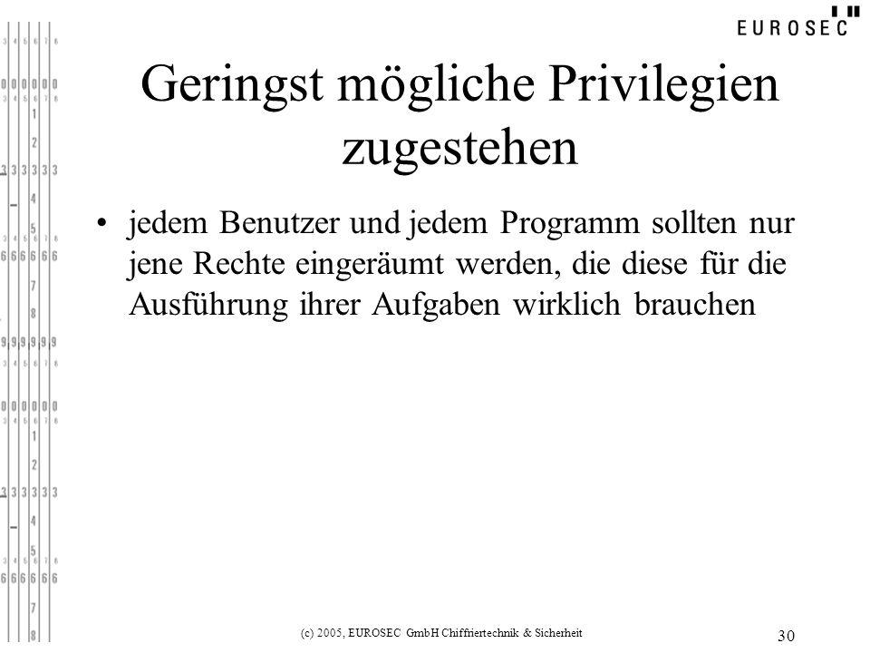 (c) 2005, EUROSEC GmbH Chiffriertechnik & Sicherheit 30 Geringst mögliche Privilegien zugestehen jedem Benutzer und jedem Programm sollten nur jene Rechte eingeräumt werden, die diese für die Ausführung ihrer Aufgaben wirklich brauchen