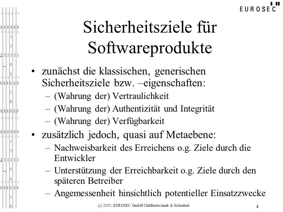 (c) 2005, EUROSEC GmbH Chiffriertechnik & Sicherheit 4 Sicherheitsziele für Softwareprodukte zunächst die klassischen, generischen Sicherheitsziele bzw.
