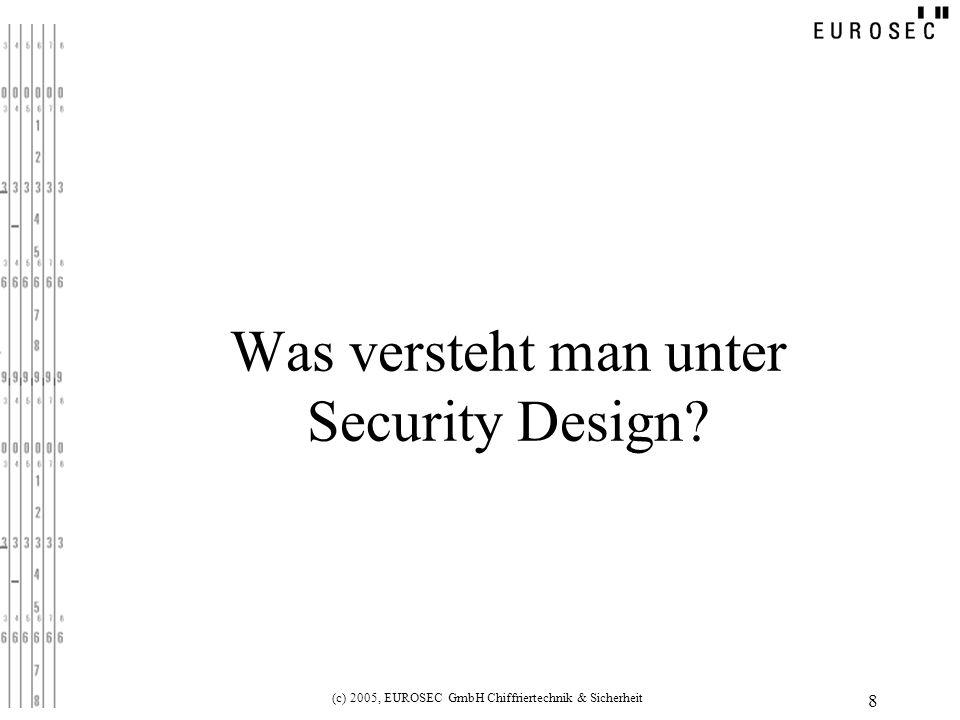 (c) 2005, EUROSEC GmbH Chiffriertechnik & Sicherheit 8 Was versteht man unter Security Design?