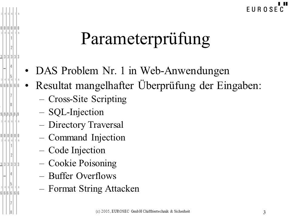 (c) 2005, EUROSEC GmbH Chiffriertechnik & Sicherheit 3 Parameterprüfung DAS Problem Nr.
