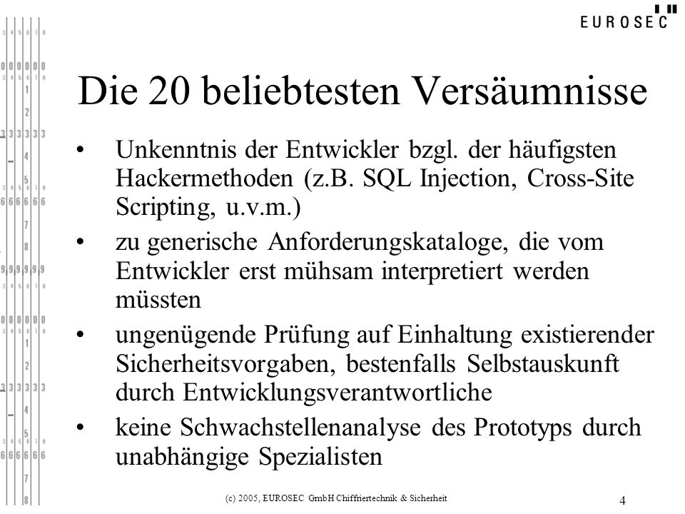 (c) 2005, EUROSEC GmbH Chiffriertechnik & Sicherheit 4 Die 20 beliebtesten Versäumnisse Unkenntnis der Entwickler bzgl.