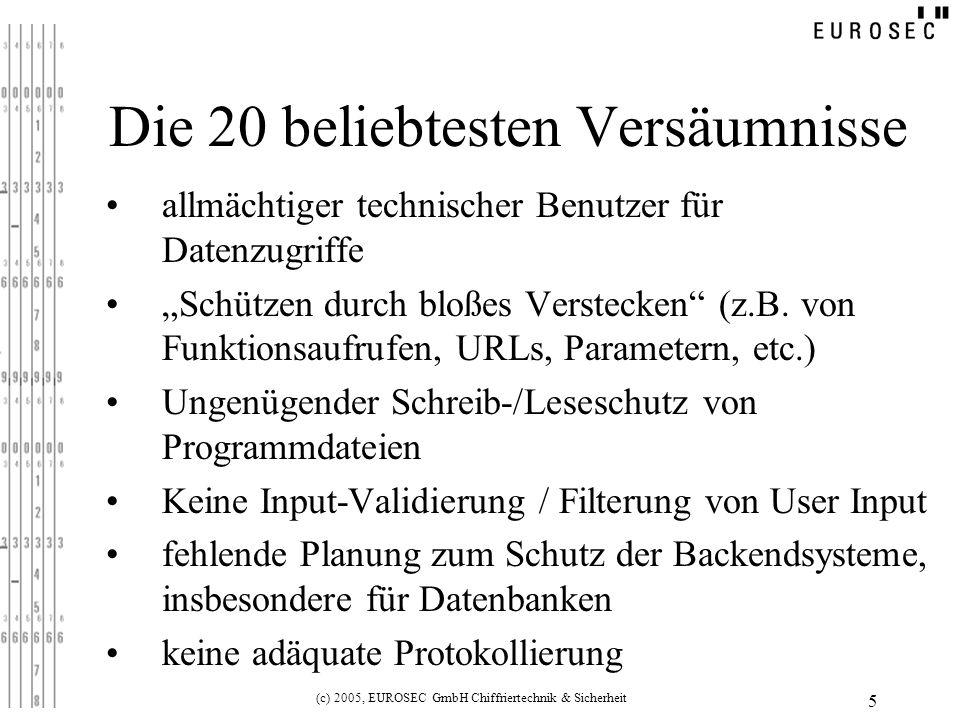 (c) 2005, EUROSEC GmbH Chiffriertechnik & Sicherheit 5 Die 20 beliebtesten Versäumnisse allmächtiger technischer Benutzer für Datenzugriffe Schützen durch bloßes Verstecken (z.B.