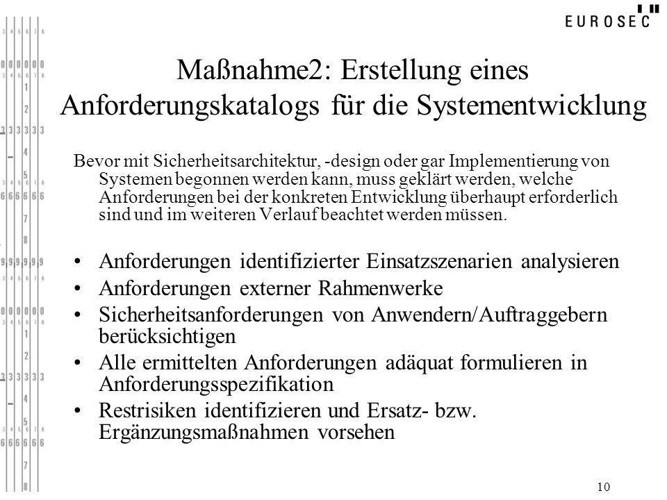 10 Maßnahme2: Erstellung eines Anforderungskatalogs für die Systementwicklung Bevor mit Sicherheitsarchitektur, -design oder gar Implementierung von S