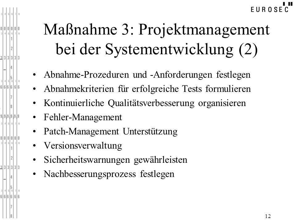 12 Maßnahme 3: Projektmanagement bei der Systementwicklung (2) Abnahme-Prozeduren und -Anforderungen festlegen Abnahmekriterien für erfolgreiche Tests