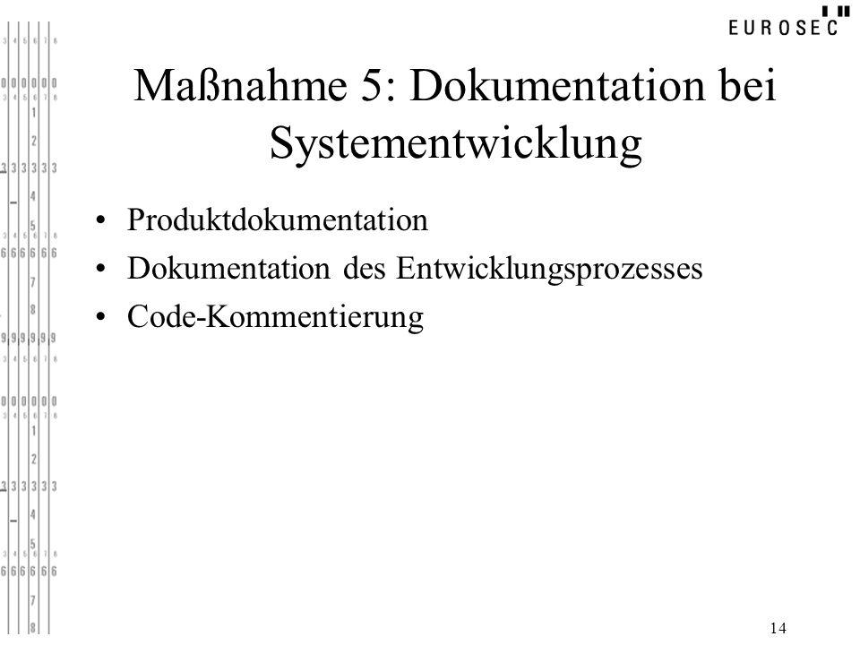 14 Maßnahme 5: Dokumentation bei Systementwicklung Produktdokumentation Dokumentation des Entwicklungsprozesses Code-Kommentierung