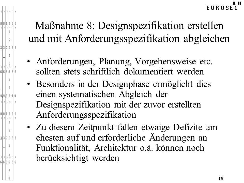 18 Maßnahme 8: Designspezifikation erstellen und mit Anforderungsspezifikation abgleichen Anforderungen, Planung, Vorgehensweise etc. sollten stets sc
