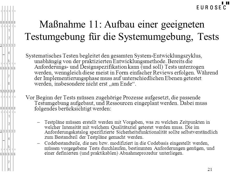 21 Maßnahme 11: Aufbau einer geeigneten Testumgebung für die Systemumgebung, Tests Systematisches Testen begleitet den gesamten System-Entwicklungszyk
