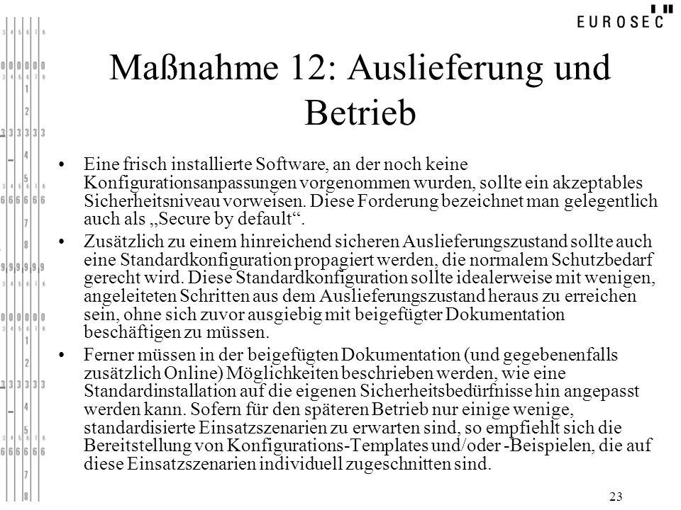 23 Maßnahme 12: Auslieferung und Betrieb Eine frisch installierte Software, an der noch keine Konfigurationsanpassungen vorgenommen wurden, sollte ein