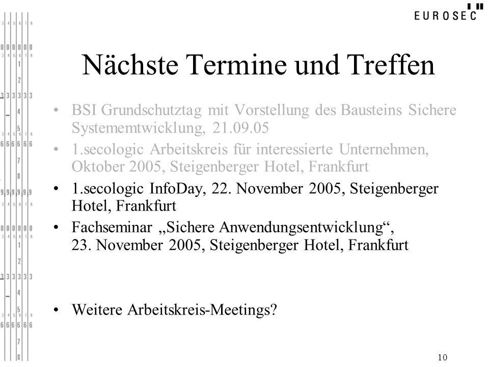 10 Nächste Termine und Treffen BSI Grundschutztag mit Vorstellung des Bausteins Sichere Systememtwicklung, 21.09.05 1.secologic Arbeitskreis für inter