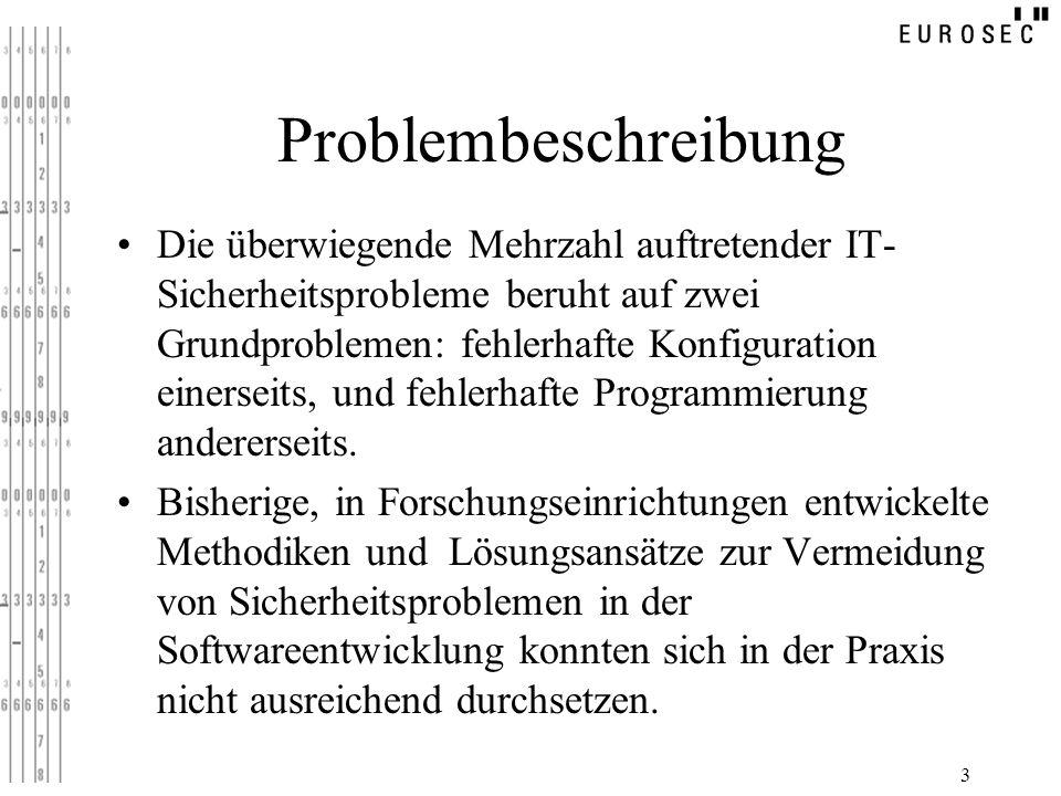 3 Problembeschreibung Die überwiegende Mehrzahl auftretender IT- Sicherheitsprobleme beruht auf zwei Grundproblemen: fehlerhafte Konfiguration einerse