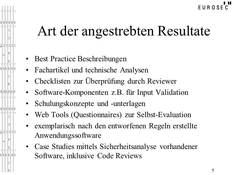 5 Art der angestrebten Resultate Best Practice Beschreibungen Fachartikel und technische Analysen Checklisten zur Überprüfung durch Reviewer Software-