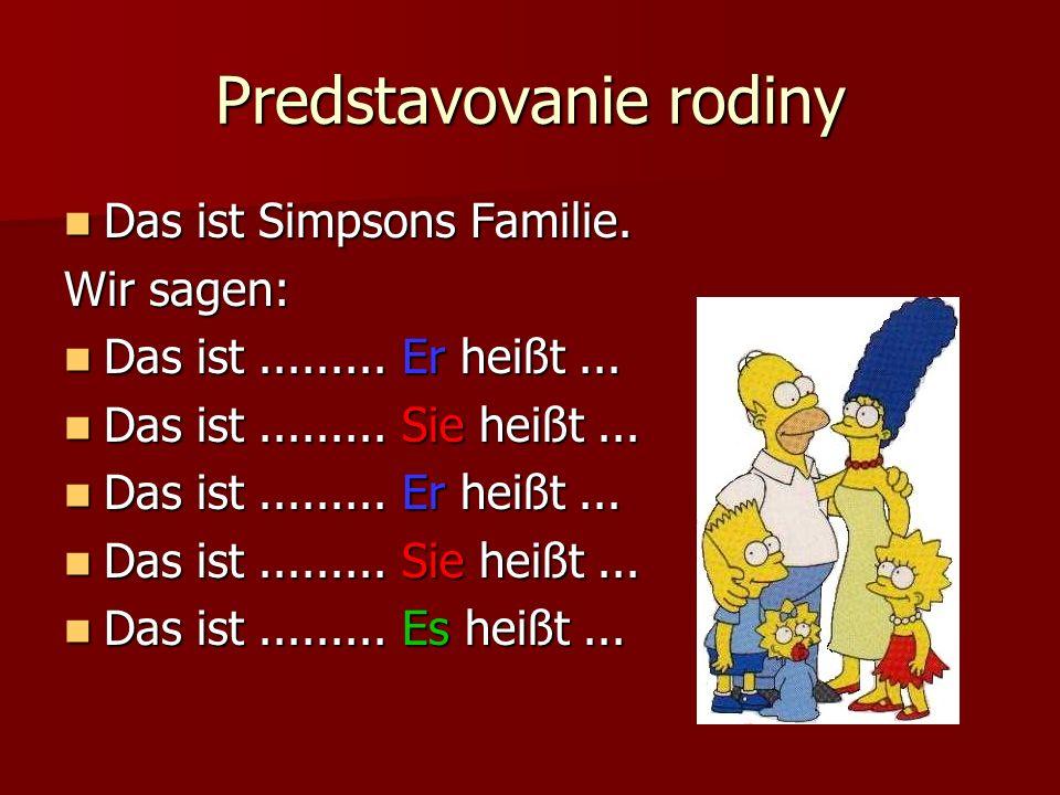 Predstavovanie rodiny Das ist Simpsons Familie. Das ist Simpsons Familie. Wir sagen: Das ist......... Er heißt... Das ist......... Er heißt... Das ist