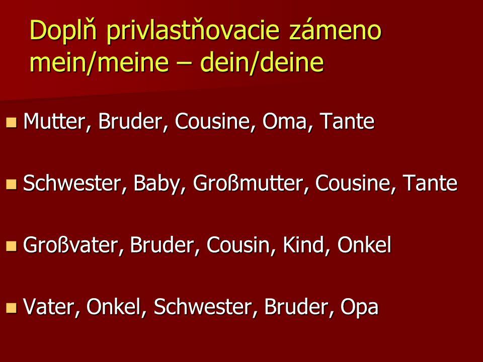 Doplň privlastňovacie zámeno mein/meine – dein/deine Mutter, Bruder, Cousine, Oma, Tante Mutter, Bruder, Cousine, Oma, Tante Schwester, Baby, Großmutt