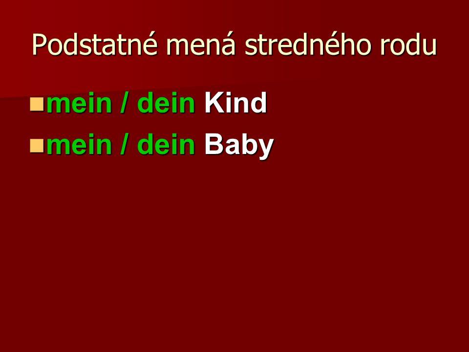 Podstatné mená stredného rodu mein / dein Kind mein / dein Kind mein / dein Baby mein / dein Baby