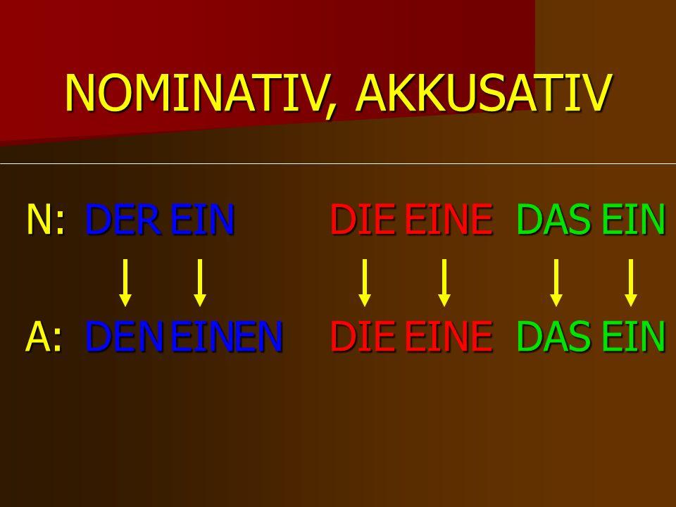 DERDIEDAS DEDIEDAS N: A: NOMINATIV, AKKUSATIV N EIN EIN EN EINE EINE EIN EIN