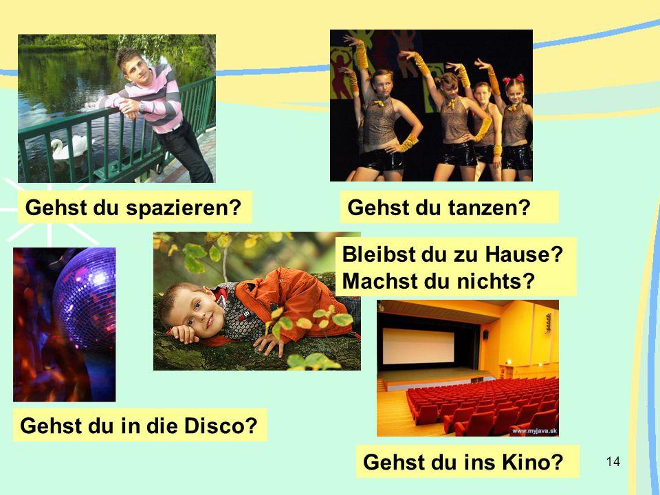 14 Gehst du spazieren? Gehst du in die Disco? Gehst du tanzen? Bleibst du zu Hause? Machst du nichts? Gehst du ins Kino?
