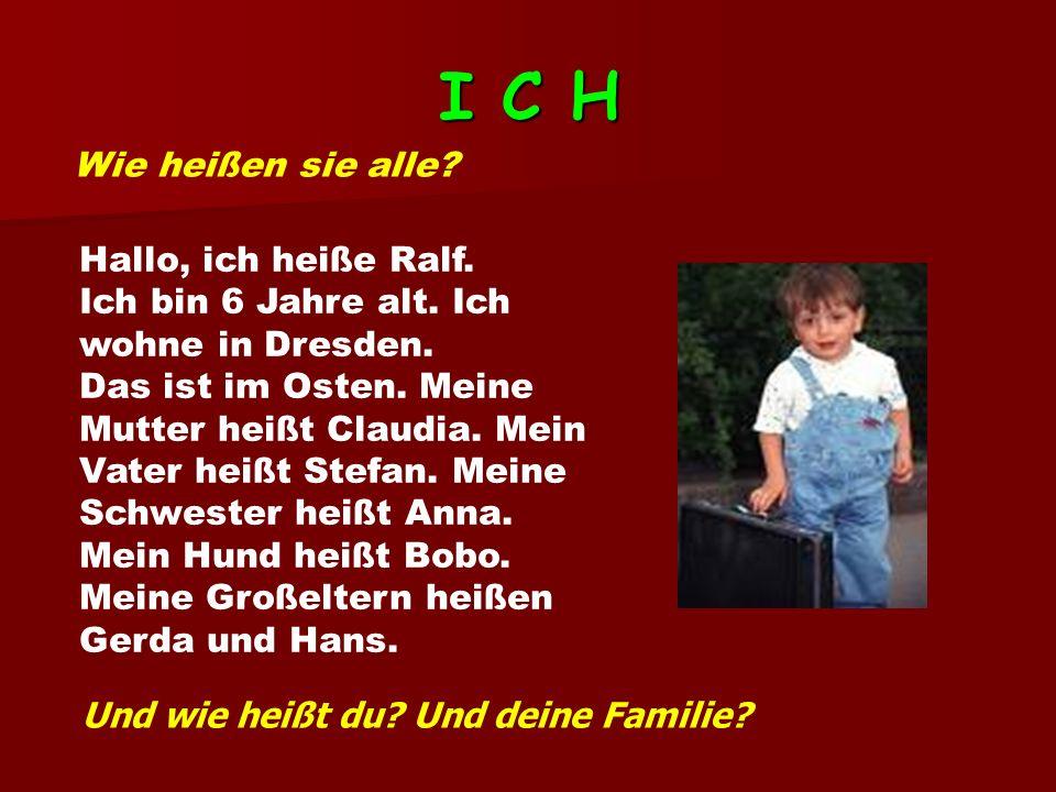 I C H Wie heißen sie alle.Hallo, ich heiße Ralf. Ich bin 6 Jahre alt.