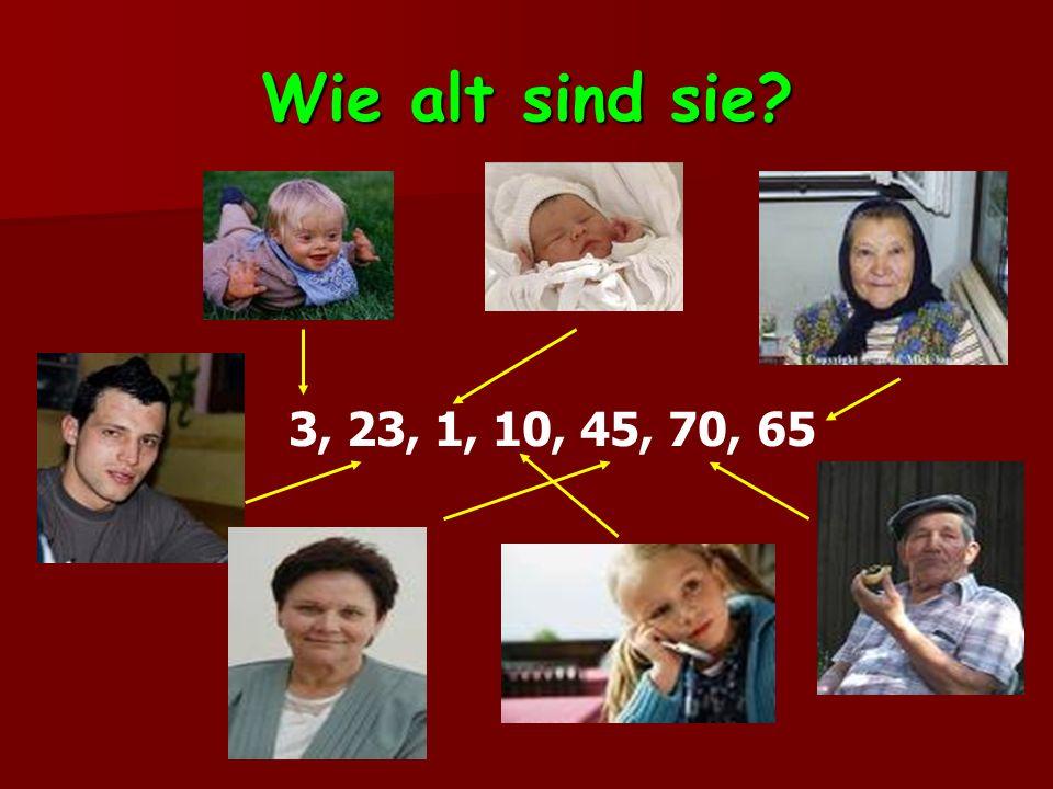 Wie alt sind sie? 3, 23, 1, 10, 45, 70, 65