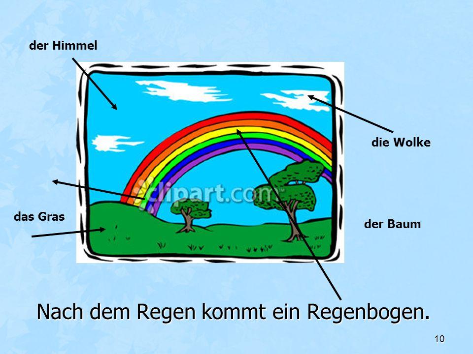 10 Nach dem Regen kommt ein Regenbogen. die Wolke der Baum das Gras der Himmel