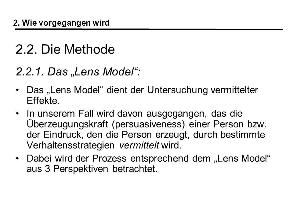 2. Wie vorgegangen wird 2.2. Die Methode 2.2.1. Das Lens Model: Das Lens Model dient der Untersuchung vermittelter Effekte. In unserem Fall wird davon