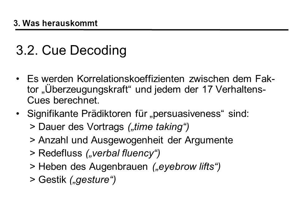 3.2. Cue Decoding Es werden Korrelationskoeffizienten zwischen dem Fak- tor Überzeugungskraft und jedem der 17 Verhaltens- Cues berechnet. Signifikant