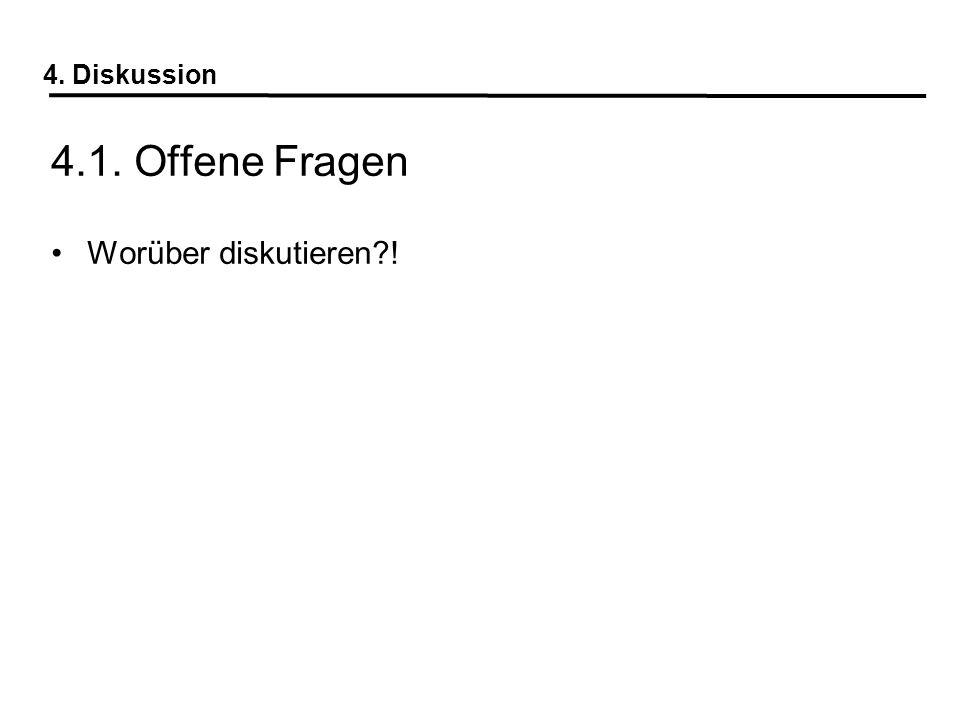 4. Diskussion 4.1. Offene Fragen Worüber diskutieren?!