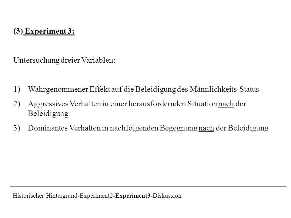 (3) Experiment 3: Untersuchung dreier Variablen: 1)Wahrgenommener Effekt auf die Beleidigung des Männlichkeits-Status 2)Aggressives Verhalten in einer