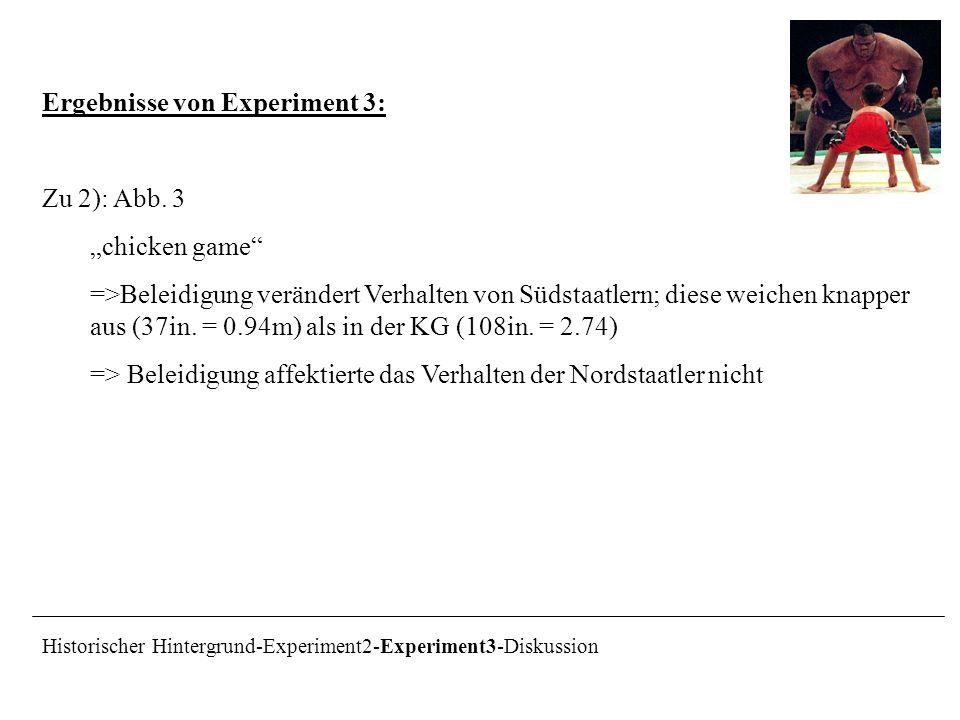 Ergebnisse von Experiment 3: Zu 2): Abb. 3 chicken game =>Beleidigung verändert Verhalten von Südstaatlern; diese weichen knapper aus (37in. = 0.94m)
