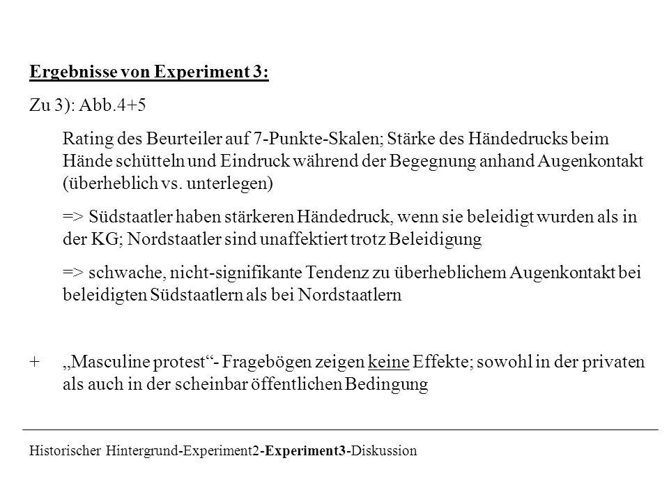 Ergebnisse von Experiment 3: Zu 3): Abb.4+5 Rating des Beurteiler auf 7-Punkte-Skalen; Stärke des Händedrucks beim Hände schütteln und Eindruck währen