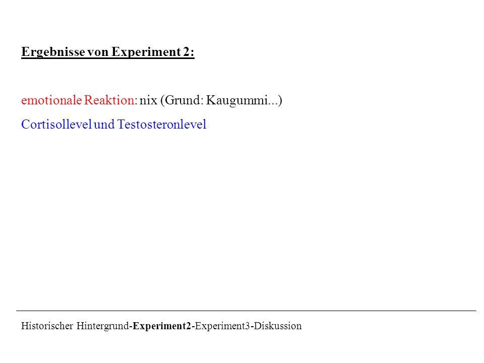 Ergebnisse von Experiment 2: emotionale Reaktion: nix (Grund: Kaugummi...) Cortisollevel und Testosteronlevel Historischer Hintergrund-Experiment2-Exp